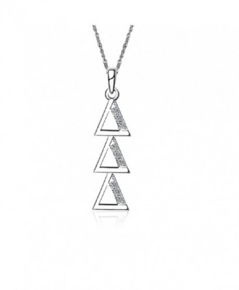 "Delta Delta Delta Vertical Silver Necklace with a 18"" Silver Chain (DDD-P001) - CZ11ILZ10SJ"