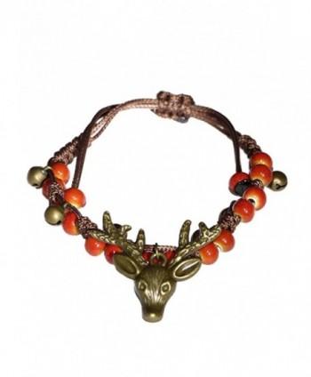 KF porcelain Handcrafted porcelain beads & reindeer strand bracelet - Red - CE187ESILR7