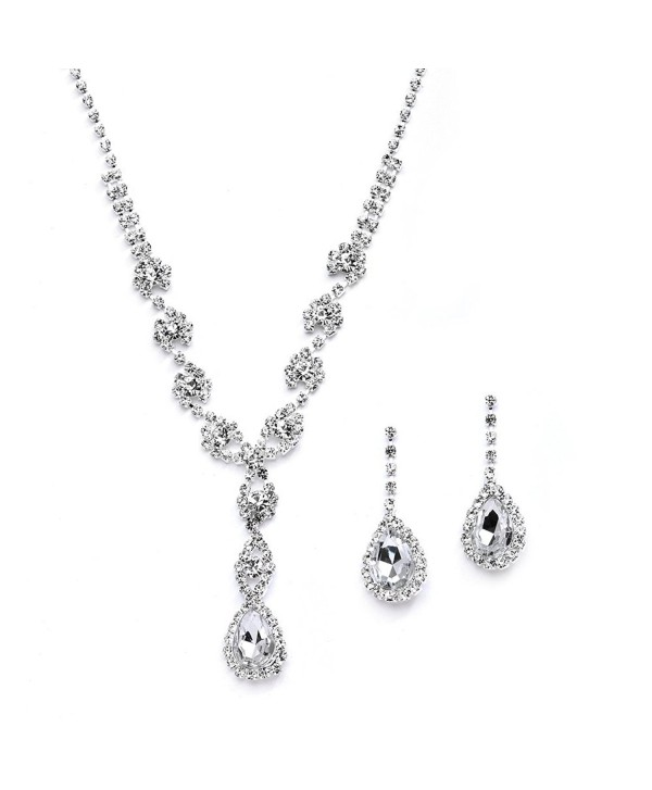 Mariell Sparkling Clear Rhinestone Necklace and Earrings Set for Proms- Bridesmaid's Gifts and Weddings - CY12FVEFOL1