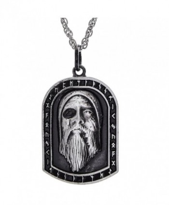 Woogge Pendant Allfather Necklace Scandinavian - Antique Tin(Odin Allfather) - CC1888KYEY8