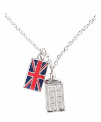 Doctor Who Tardis Union Jack Chain Necklace - C111I556RHT