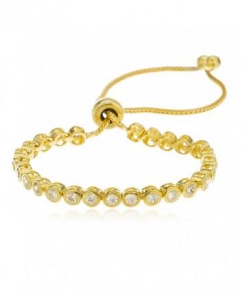 Sterling Silver Goldtone Bracelet Bezel Cubic Zirconia Adjustable 4-8 Inch.. - C511P30161B