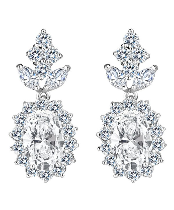 Ever Faith Full Cubic Zirconia Oval Sunflower Wedding Dangle Earrings Clear Silver Tone Ci186hozi4w