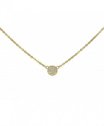 "Tiny CZ Pave Disk Circle Necklace .925 Sterling Silver Gold Tone Finish Adjustable Chain 16"" - 18"" - CT11Q0XYL8Z"