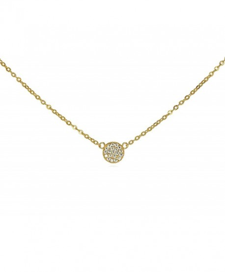 """Tiny CZ Pave Disk Circle Necklace .925 Sterling Silver Gold Tone Finish Adjustable Chain 16"""" - 18"""" - CT11Q0XYL8Z"""