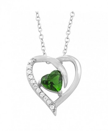 Sterling Silver Cubic Zirconia Birthstone Heart Necklace (18 inch) - CT11EFOKCLL
