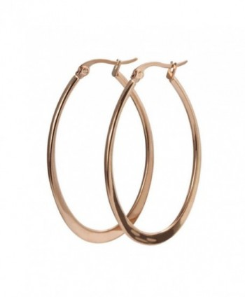 AmDxd Jewelry Titanium Stainless Steel Women's Fashion Hoop Earrings Circle Shape Rose Golden Width 29.8MM - C611MULG9Q3