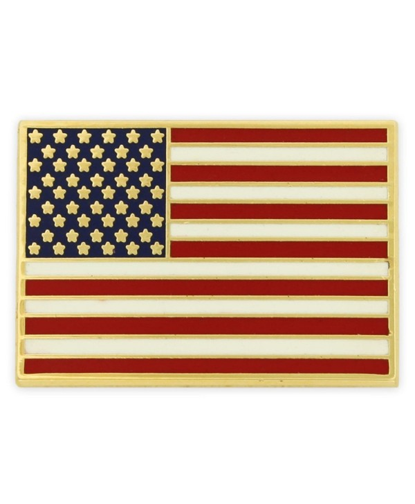 PinMart's Gold Plated Made in USA Rectangle American Flag Enamel Lapel Pin - C9119PELDYL