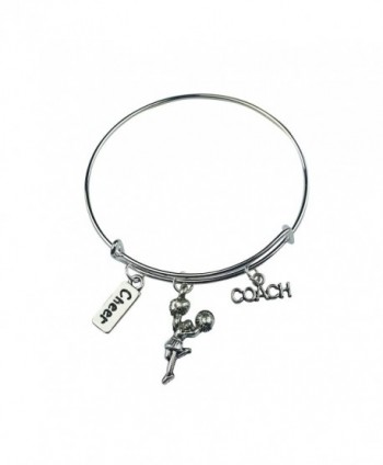 Art Attack Silvertone Cheerleader Cheer Coach Sports Pom Pom Charm Expandable Bracelet - CF12ISZGQ2V