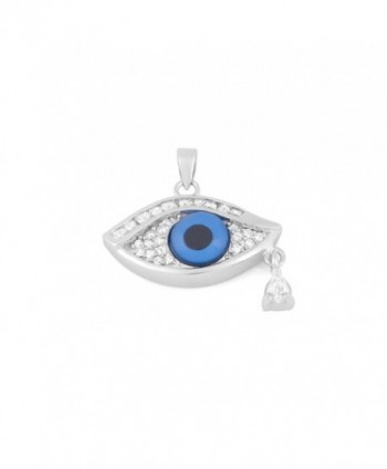 Sterling Silver Evil Eye Pendant Set with Cubic Zirconia- and a Dangling Tear-drop Accent - CN11BSVUSOF