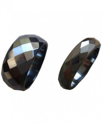 2pcs 6mm 10mm Black Wide Magnetic Faceted Hematite Stone Finger Band Men Women Rings Gift Box Size 6-13 - C612GPALQNJ