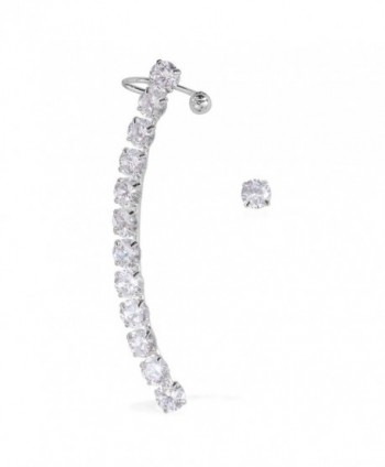 Austrian Crystal Silvertone Single Stud and Ear Cuff Earrings - CB182LTA0R3