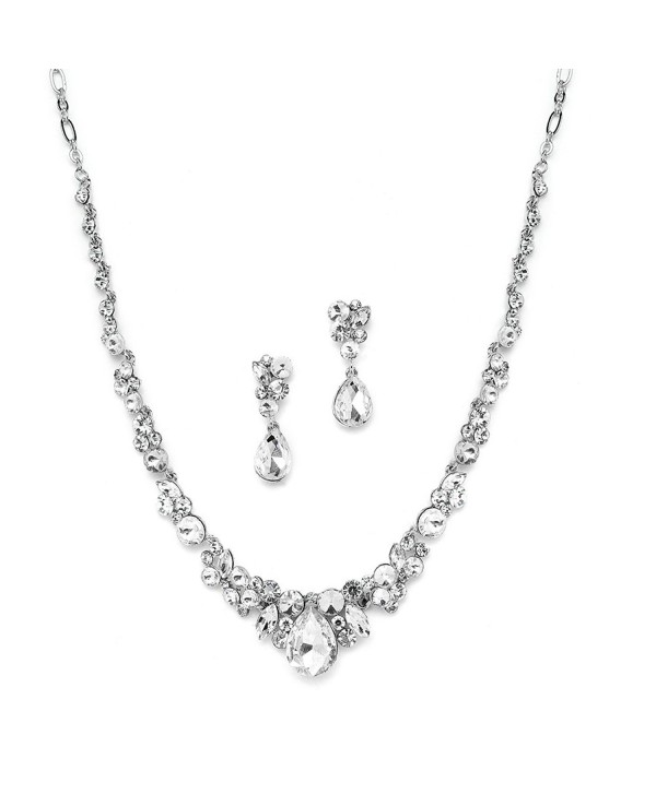 Mariell Glamorous Clear Crystal Wedding- Prom- Bridesmaids or Mother of Bride Necklace and Earrings Set - CN121O5FPFB