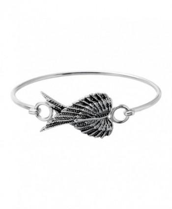 SENFAI New Fashion 3 Colors Female Lovely Jewelry Wire Bangle Bracelet Openable Heart Angel Wings Bracelet - CD12DZ2OB0V