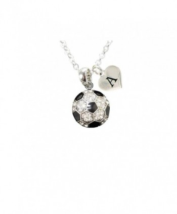 Custom Crystal Soccer Ball Silver Chain Necklace Choose Initial Charm All 26 - CC12MYBZQAY