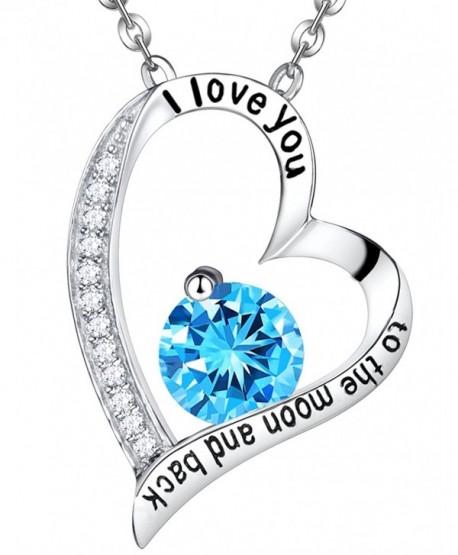 Birthday Aquamarine Swarovski Necklace Sterling - Aquamarine Heart Necklace - CP12NA2RFFD