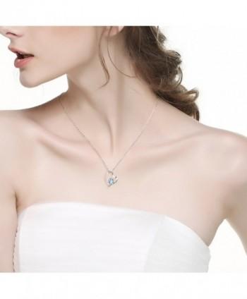 Birthday Aquamarine Swarovski Necklace Sterling in Women's Pendants
