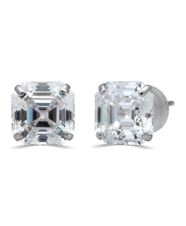 Jewelili 10KT White Gold 7mm Asscher Cut Cubic Zirconia Stud Earrings - C517YYU8MT5