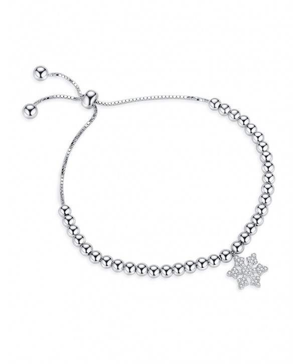 Edelweiss Adjustable Bangle Bracelets Charm Bracelet With Snowflake - Valentine's Day Gifts - SILVER - CY1888CZE9L
