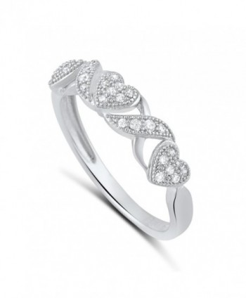 Sterling Silver Cz Thin XO Heart Stackable Ring (Size 4 - 9) - CW12BLQ8UUZ