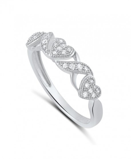 Sterling Silver Cz Thin XO Heart Stackable Ring (Size 4 - 9) - CW12BLQ8UUZ