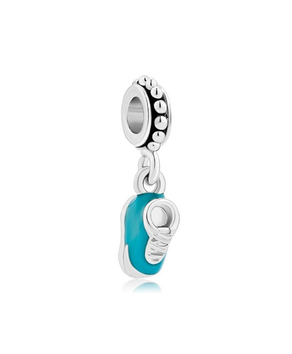LovelyJewelry Baby Blue Shoe Charm Dangle Beads For Bracelet - CO11TC1FNJX