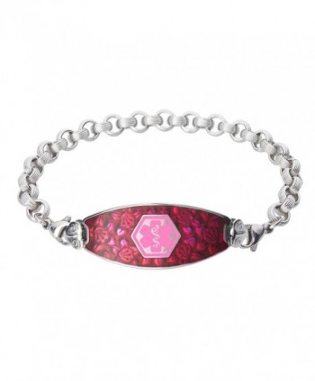 Divoti Custom Engraved Blooming Cherry Blossom Medical Alert Bracelet -Ridged Rolo Stainless -Pink - CL12GTVDFRZ