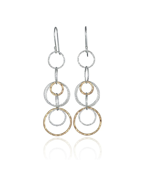 Two Tone Interlinked Circles Dangle Earrings 925 Sterling Silver and 14k Gold Filled Multi Hoop Earring - C812OD46M30