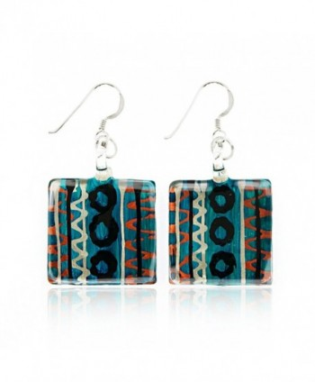 "925 Sterling Silver Hand Painted Murano Glass Multi-Colored Blue Square Dangle Earrings 1.7"" - CX11WRCZGZZ"
