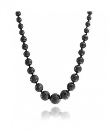 Bling Jewelry Silver Plated faceted Onyx Grey Bead Necklace 20 Inches - CB11EIKMWKV