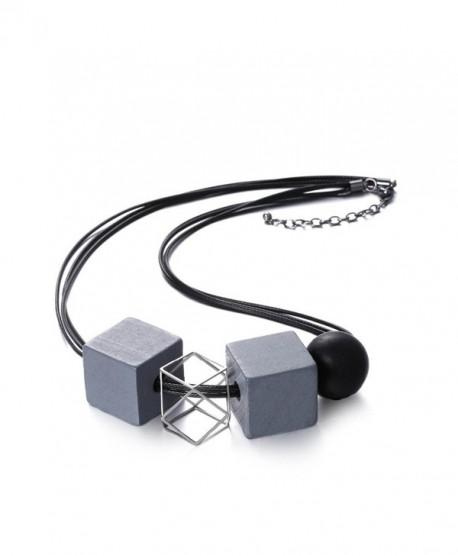 eManco Statement Geometric Black Rope Wooden Beads Necklace Ethnic Bib Vintage Choker for Women Jewelry - C712N36BO1X
