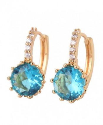 GULICX Yellow Gold Tone Acquamarine Color Crystal love Earrings Women Charm Earrings Hoop - CO11XRH7S91