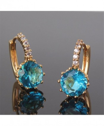 GULICX Yellow Acquamarine Crystal Earrings in Women's Hoop Earrings