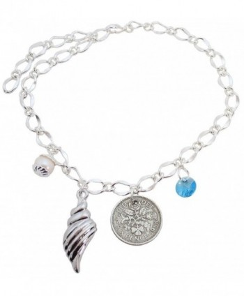 Large Bridal Ankle Bracelet Shell- Light Blue Round Crystal- Simulated White Pearl and Six Pence - CE12HC19CRN