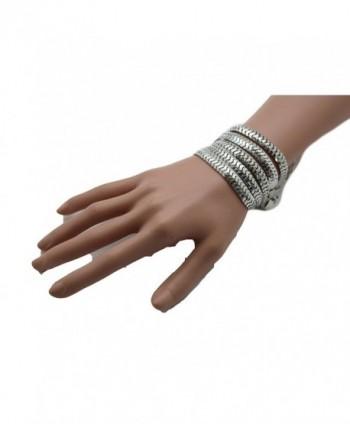 TFJ Women Bangle Bracelet Classic Fashion Jewelry Wide Metal Mesh Links 5 Strands Silver - CG12CQXNKVL