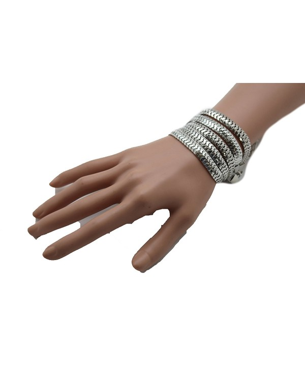 TFJ Women Bangle Bracelet Classic Fashion Jewelry Wide Metal Mesh Links 5 Strands Silver - CG12CQXNKVL