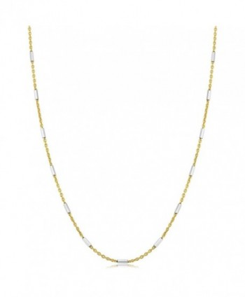Two-Tone Sterling Silver 1.25mm Bar Station Gold Plated Rolo Chain Necklace - CI1896HXDLU