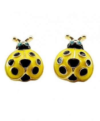 DaisyJewel Yellow Ladybug Stud Earrings - CX110S9CVGL