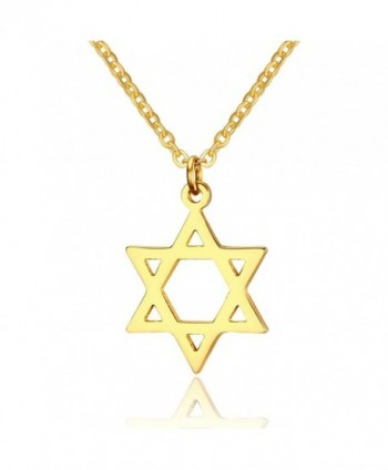 Yolanda Dainty Gold Jewish Star of David Pendant Necklace for Women Stainless Steel Jewelry - CY184UZRE5G