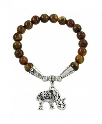 Falari Elephant Lucky Charm Natural Stone Bracelet Tiger-Eye B2448-TE - CJ124HGMKDJ