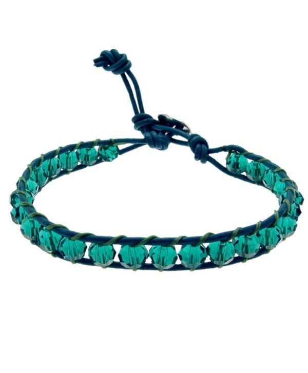 SWEETIE 8 Women's Faceted Color Crystal Leather Wrap Bracelet- Single Wrap- 6mm/bead - Teal - CK125N1EHQ5