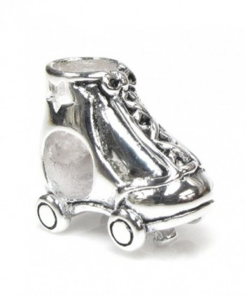 Sterling Silver Star Roller Skate European Style Bead Charm - C0114NMLGM9
