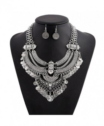 truecharms Fashion Jewelry Set Statement Necklace And Earrings For Women - Silver - C012ENKNE6L