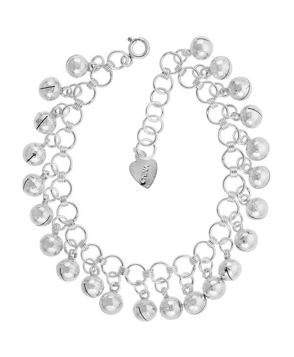 Sterling Silver Jingle Bells Charm Bracelet 15mm wide- fits 7-8 inch wrists - CW111D6K6OH