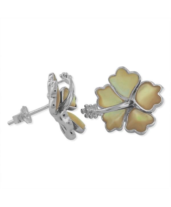 Sterling Silver Mother Of Pearl Hibiscus Earrings - CF126JJIHOX