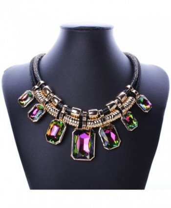 YAZILIND Charm Pendant Chain Crystal Choker Chunky Bib Statement Short Necklace Collar - Multi-Color - CF11AD5JAJ9