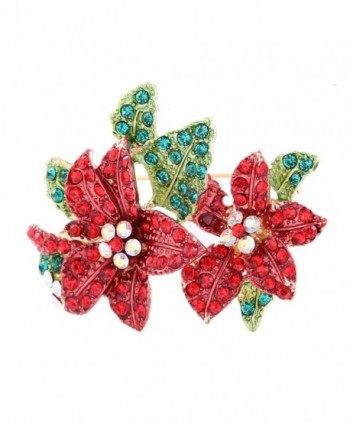 Boderier Christmas Xmas Holiday Snowflake Sled Snowman Brooches Pin Jewelry Gift - Flower - CA187MR4HDO