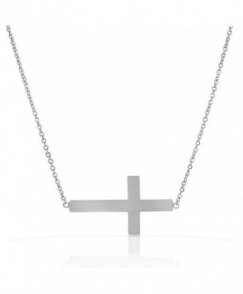 Stainless Steel Silver-tone Womens Sideways Cross Pendant Necklace - CE11DND7YMP