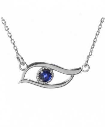 Fine 925 Sterling Silver Blue-Colored CZ Stone Evil Eye Pendant Necklace - C1122MAIOWR