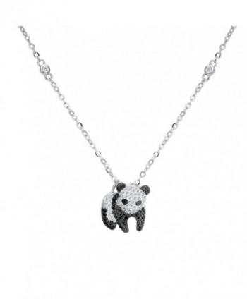 EVER FAITH 925 Sterling Silver Pave Cubic Zirconia Cute Panda Animal Pendant Necklace Clear w/ Black - CX127MPSOXR